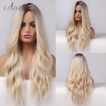 EASIHAIR, Омбре, пепельница, блонд, парики, длинные, водная волна, синтетические, женские парики, термостойкие, средняя часть, косплей, парики для ...