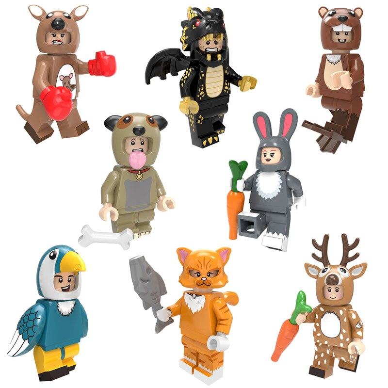 Зоопарк животное щенок Микки Ститч Русалка Единорог птица мини игрушка фигурка Кирпич игровой набор миниатюрный строительный блок совместим с Lego - Цвет: 8pcs A