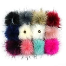 Boule artificielle de Pompon multicolore de 10cm avec bouton en fausse fourrure de raton laveur pour femmes, chapeau d'hiver, fournitures artisanales décoratives