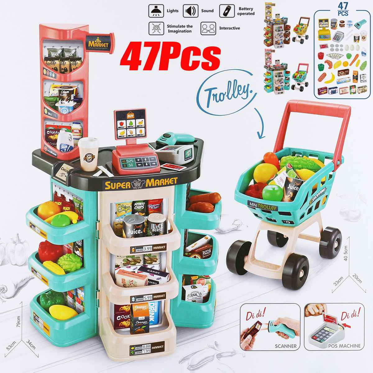 47 Pcs Children Gift Home Buy Supermarket Cashier Funny Kids Pretend Play Learning Educational Cash Register Toy For Birthday