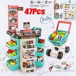 47 stücke Kinder Geschenk Hause Kaufen Supermarkt Kassierer Lustige Kinder Pretend Spielen Lernen Pädagogisches Kassen Spielzeug für geburtstag