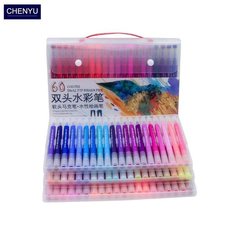 CHENYU 100 couleurs double pinceau Art marqueurs stylo pointe Fine et pinceau dessin peinture aquarelle stylos pour coloriage Manga calligraphie