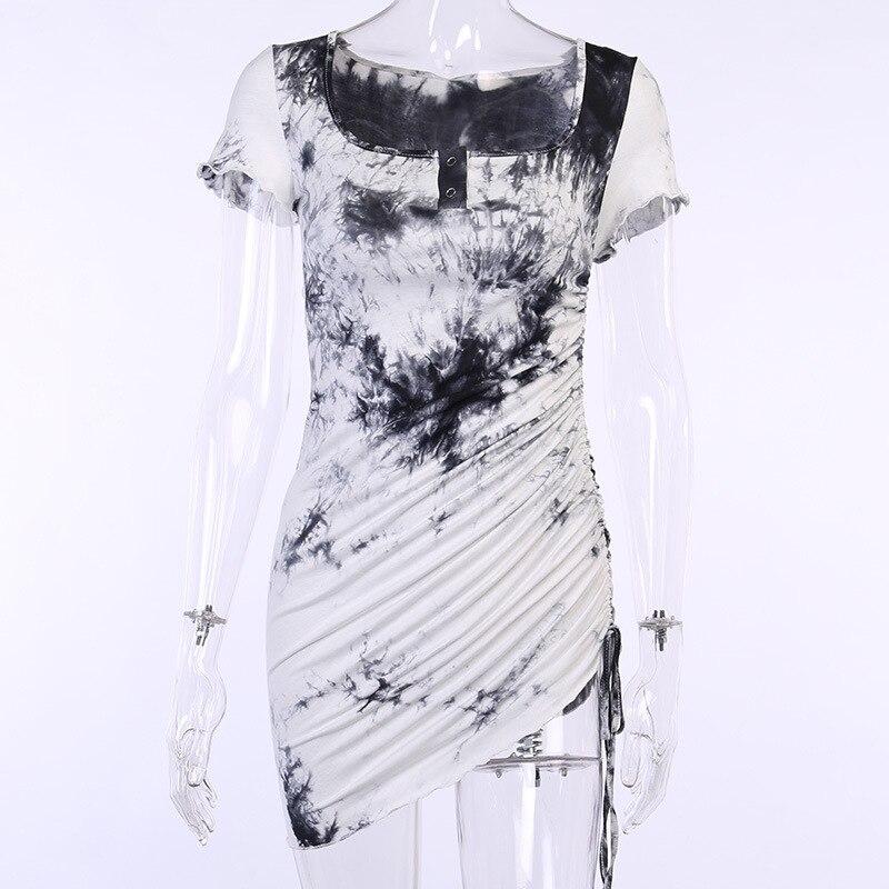 Sexy Sundresses Women Goth Dark Gothic Tie Dye Fashion Bandage Square Neck With Button 2021 Summer Dresses High Waist Clubwear 7