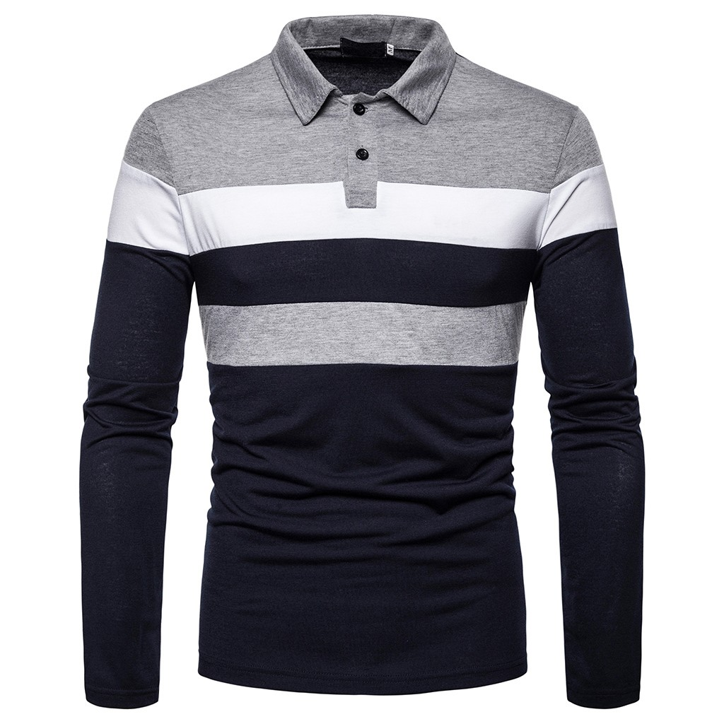 Men Polo Shirt Mens Long Sleeve Solid Polo Shirts Button Slim Fit Turn-Down Collar Autumn Winter Tops Shirt Plus Size Blouse#G25
