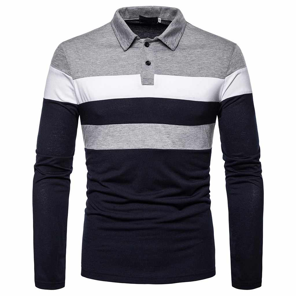 Men Polo Shirt Mens Long Sleeve Patchwork Polo Shirts Button Slim Fit Turn-Down Collar Long Sleeve Top Blouse Plus size Tops#G15