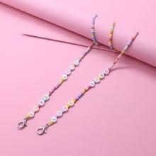 Soporte de cadena para mascarilla colgante para niños y niñas, collar colorido con cuentas de amor, cordón para gafas, correa de cuerda para el cuello