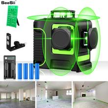 3D 12 Lines Green Laser Level with 18650 Battery 8 Lines Green Laser Beam Line Horizontal Vertical Cross Super Powerful zokoun 3 x 360 3d green beam lines laser level with 5200mah lithium battery and horizontal and vertical lines working separately