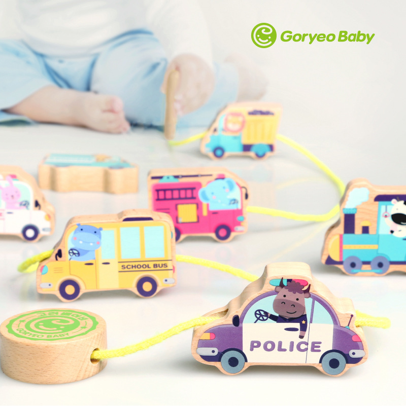South Korea Korea Item Goryeobaby String Building Blocks Rope Wear Beads Children Toy Car Threading Game