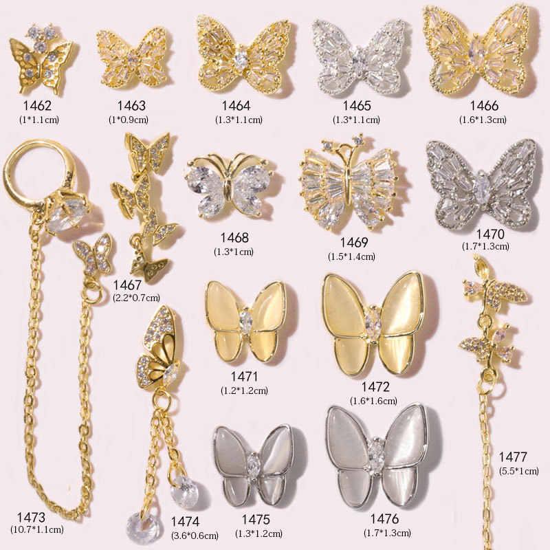 1pcかわいい 3D蝶ネイルグリッター粉末金属色のネイルアートuvジェル研磨クロームフレーク顔料ダストアート装飾