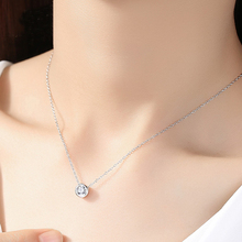 Hot Simple Small Round 1 carat Cubic Zirconia White Gold Color Pendant Necklace Jewelery for Women Girls Gifts XZ9256