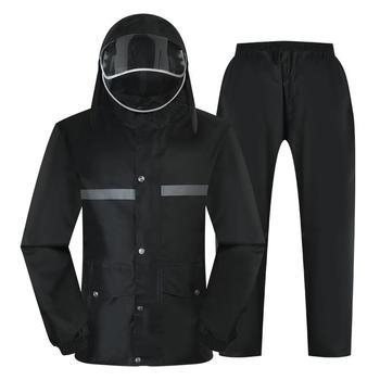 Waterproof Pants Raincoat Jacket Set Travel Outdoor Thick Raincoat With Hood Survival Plastic Regenjacke Rain Coat Men JJ60YY