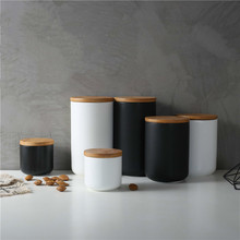 Wooden Lid Sealed Ceramic Storage Jar For Spices Tank Container For Eating With Lid Bottle Coffee Tea Caddy Kitchen Snack jars cheap CN(Origin) Storage Bottles Jars