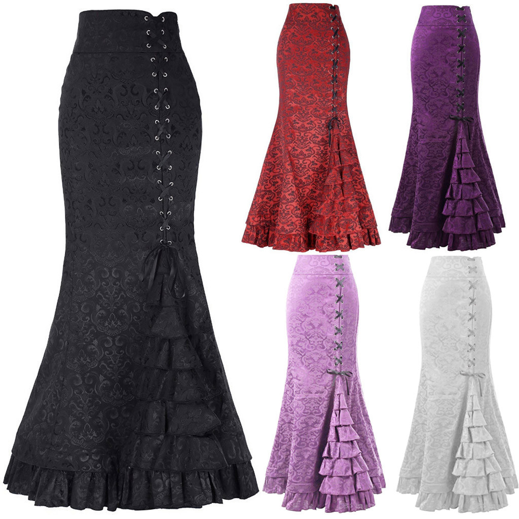 Women's Skirt Punk Style Retro Mermaid Skirt Vintage Long Ruffle Slim Fit Fishtail Skirt Lace-up Black Slim Plus Size Skirt#G1