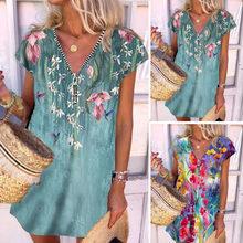 Summer Women's Fashion Print Mid-length Dress Hedging V-neck Zipper Short-sleeved Dress Casual Vacation Beach Dress Plus Size