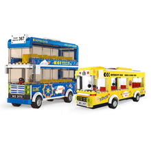 City Double-Layer Intercity Bus Scene Small Particles Assembled Vehicles DIY Building Blocks Toys