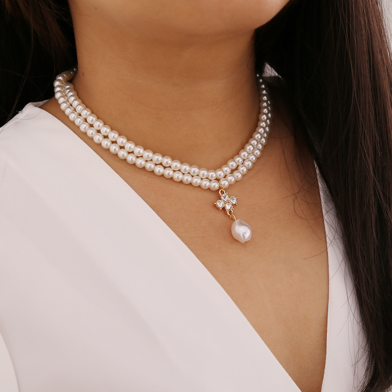 COWBREAD Double Layer Pearl Necklace for Women Choker Wild Fashion Clavicle Chain Party Female Necklace Collar Short Jewelry