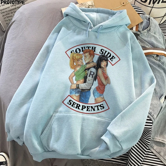 South Side Serpents Gothic Crop Aesthetic Bluza Oversize Winter Sweatshirts Hoody Female Top Riverdale Hoodie Clothes Streetwear