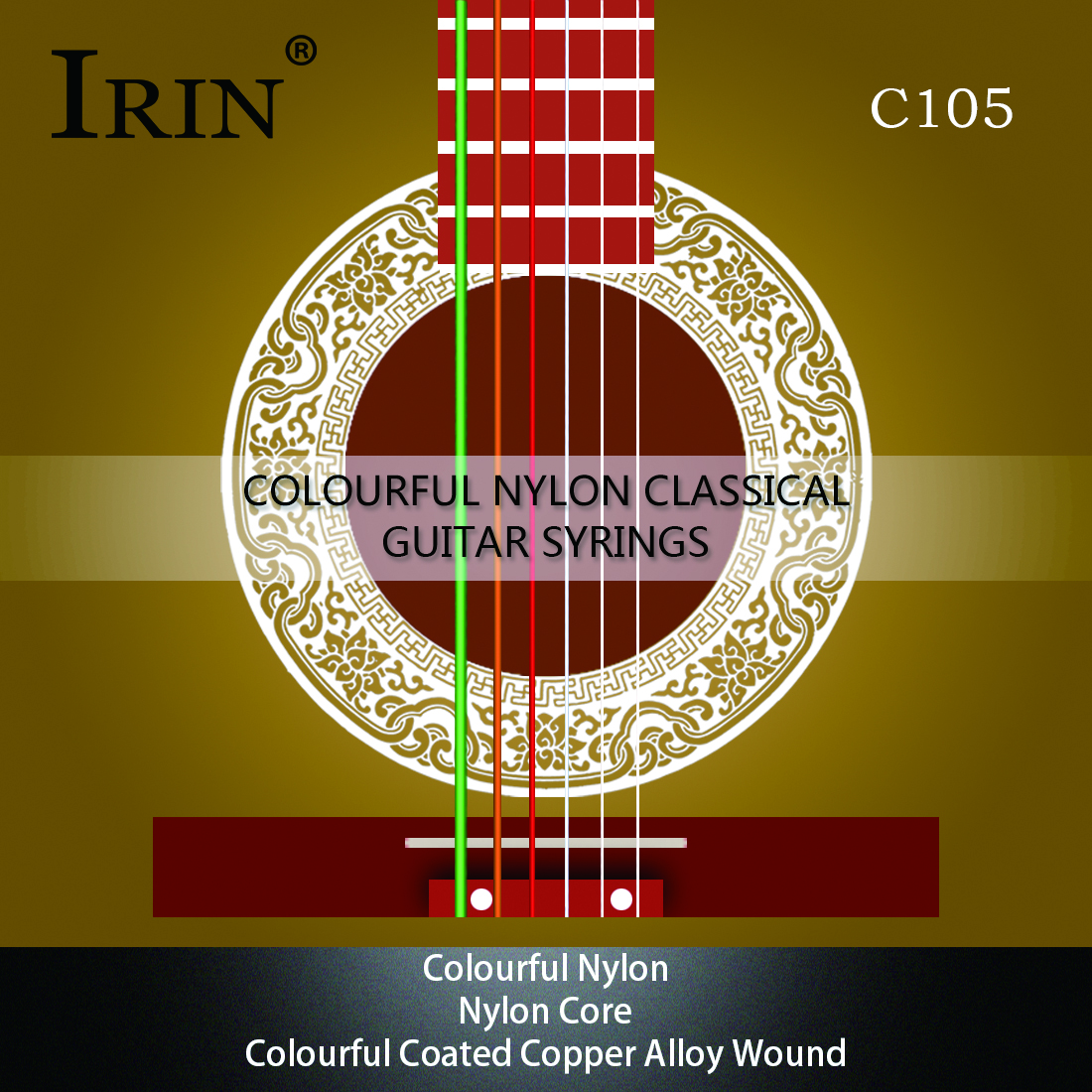 IRIN 6pcs/set (.028-.043) Acoustic Classical Guitar Strings Nylon Core Colorful Coated Copper Alloy Wound C105 Colorful Rainbow