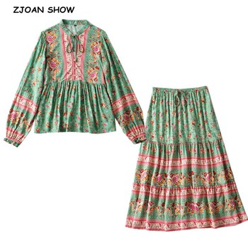 2020 BOHO Lacing up Collar Floral Print Pullover Shirt Women Elastic Waist Maxi Long Skirt Pink Holiday 2 Pieces Set 1