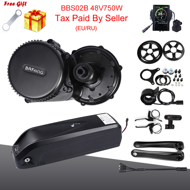 EU/RU No TAX 48V 750W Bafang BBS02B Mid Drive Motor Conversion Kit with Lock 12AH/17.5Ah Samsung Cell Bicycle Battery
