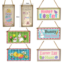 Easter Mural Creative Wooden Wall Plaque Hanging Board Decoration For Home Garden Store Wall Door Festival Decor