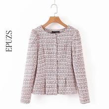Sweet pink tweed blazer Coat women blazers and jackets elegant long sleeve plaid