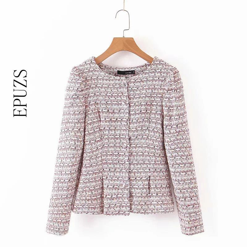 Sweet Pink Tweed Blazer Coat Women Blazers And Jackets Elegant Long Sleeve Plaid Blazer Casual Office Suit Jacket 2019 Autumn