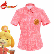Costume Animal Cosplay Isabelle Cosplay Costume femmes manches courtes chemises rose hauts Costume uniforme d'halloween(China)