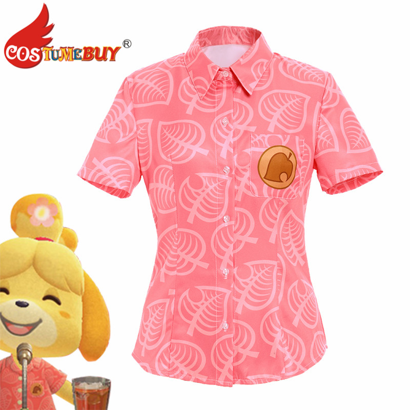 CostumeBuy Game Animal Cosplay Crossing Isabelle Cosplay Costume Women Short Sleeve Shirts Pink Tops Halloween Uniform Suit