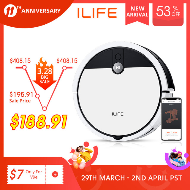 ILIFE V9e Robot Vacuum Cleaner Smart 700ML dust box WIFI App control Powerful suction 110 Minute Run Time 1