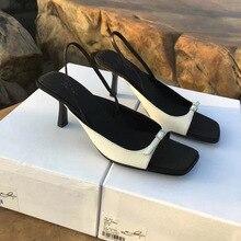 Black Women Sandals 2020 Ladies Open Toe Belt Design Slingback Thin High Heels