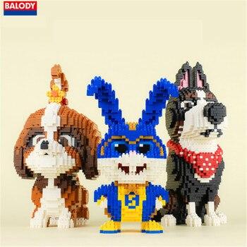 Balody mascota perro Margarita Gallo blanco bola de nieve conejo y superman conejo modelo 3d kits de construcción micro bloques niños juguete 1962P