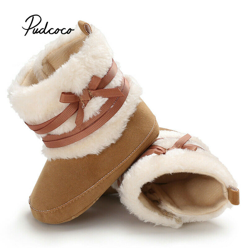 Brand Unisex Kids Winter Shoes Newborn Baby Girls Boy Boots Infant Toddler Bow-knot Snowfield Warm Fur Snow Boots 0-18Months