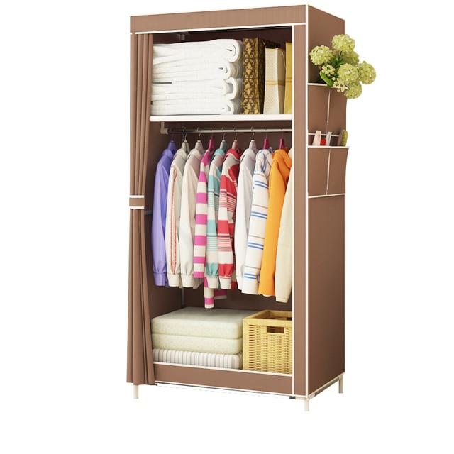 Actionclub armario de tela minimalista para bebé, armario de almacenamiento para bebé, moderno, de acero plegable, individual, muebles de dormitorio