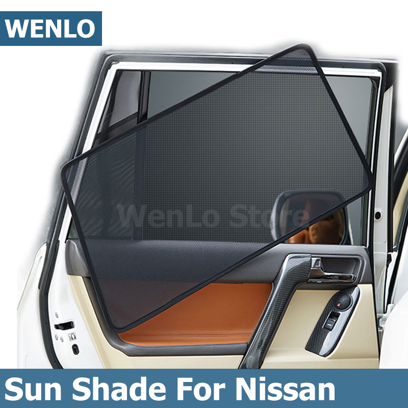 WENLO 4Pcs Magnetic Car Front Side Window Sunshade For Nissan JUKE LIVINA NOTE <font><b>NV350</b></font> E26 PULSAR QASHQAI Quest SERENA SUNNY image