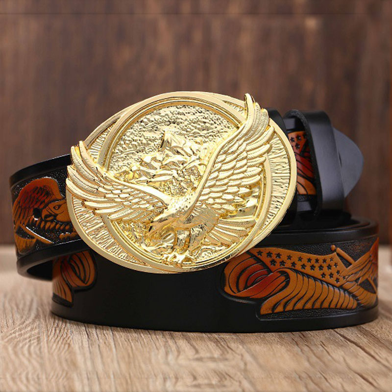 Men's Genuine Leather Belts Male Top Quality Eagle Totem Copper Smooth Buckle Retro Belt For Men Jeans Gifts For Men Gold Belt