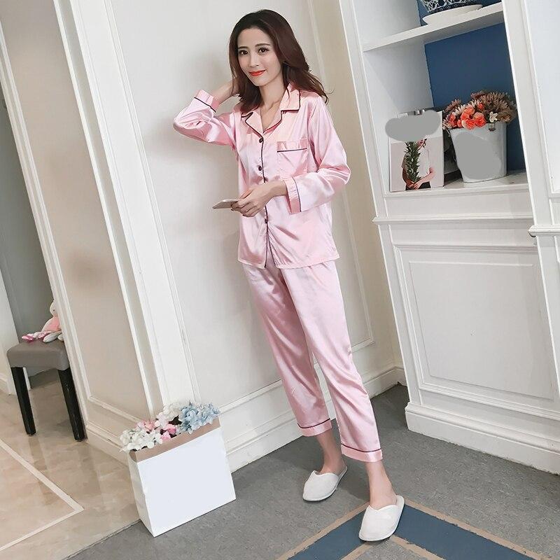 Women Silk Pajama Satin Ladies Pajamas Sets  Top+Pants Women Silk Pajamas Long Sleeves Turn-down Collar Pocket Decor With Button
