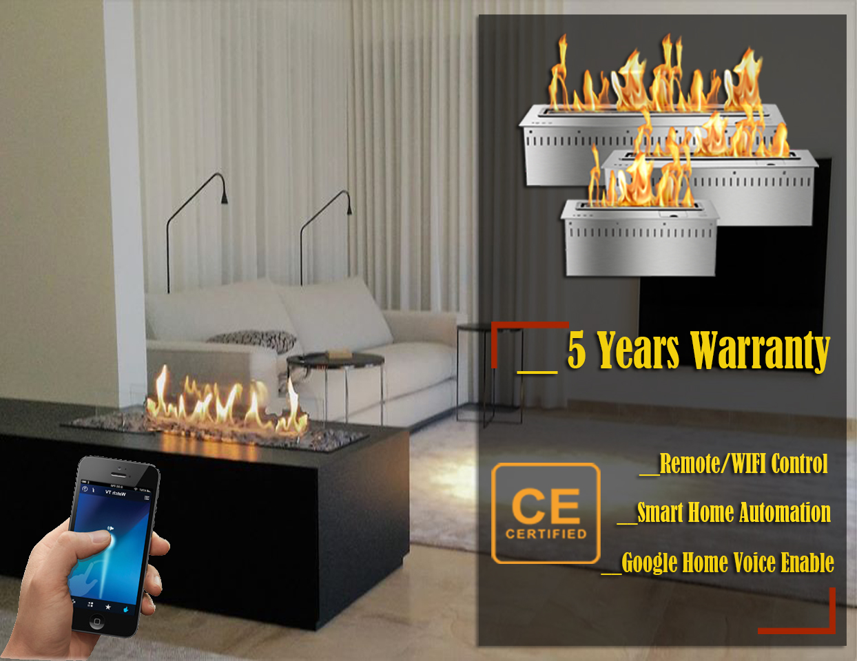 Hot Sale 72 Inches Real Fire Stainless Steel Remote Bio Ethanol Fireplace Wall Insert Burner