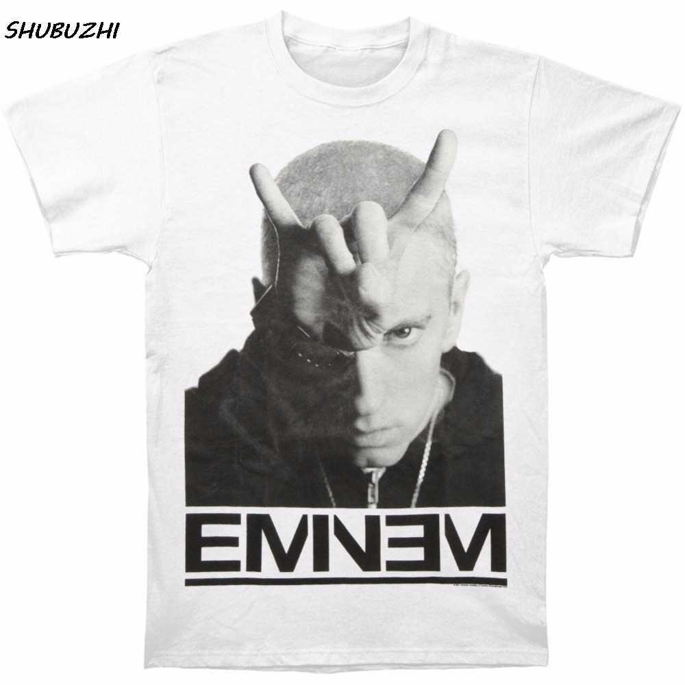 T Shirt men cotton Short Sleeve Eminem Men's Finger Horns T-shirt Size S To 3XL Short o-Neck T Shirts For Men