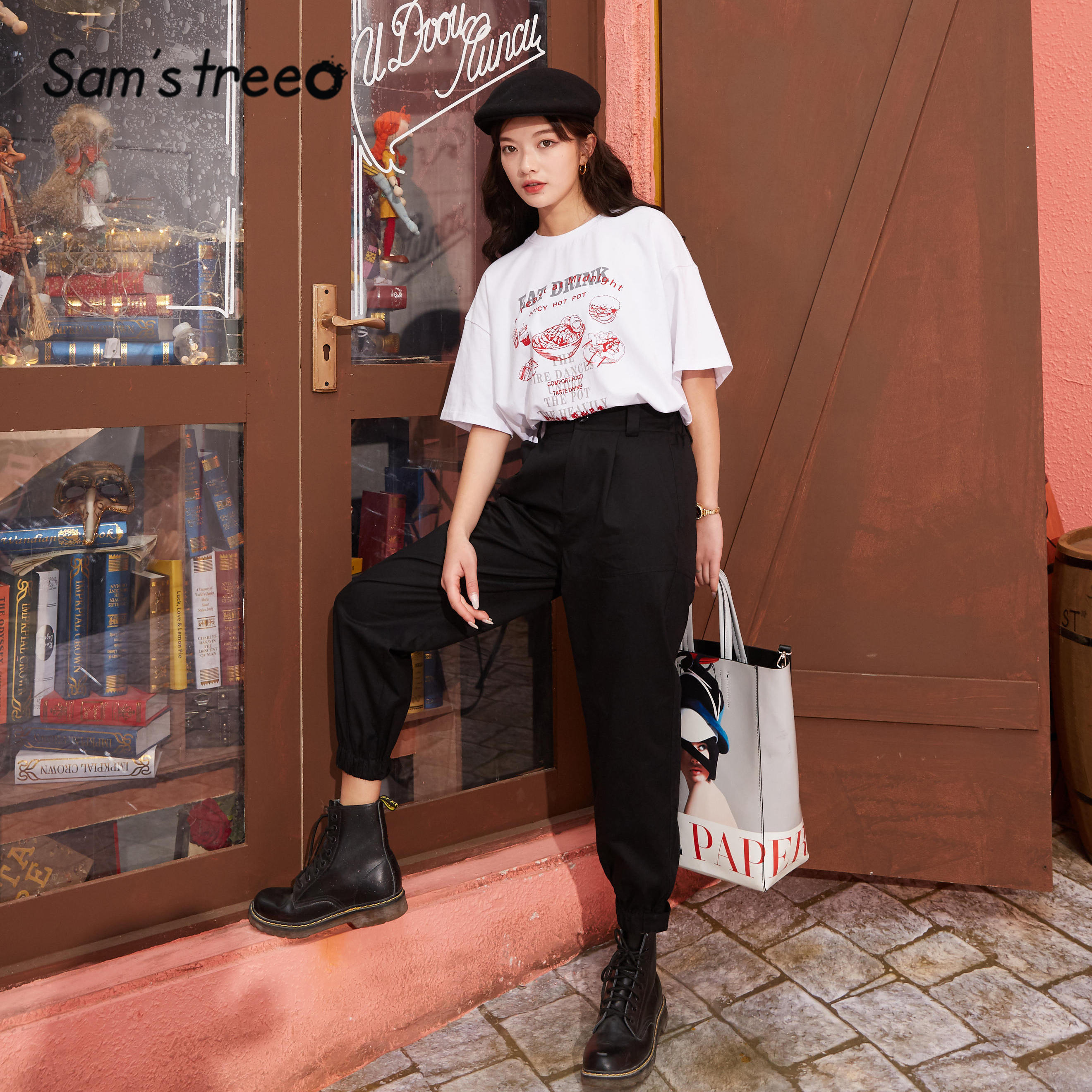 SAM'S TREE Khaki Solid Straight Casual Women Cargo Pants 2020 Spring Pure Black Elastic Waist Ladies Korean Daily Trousers