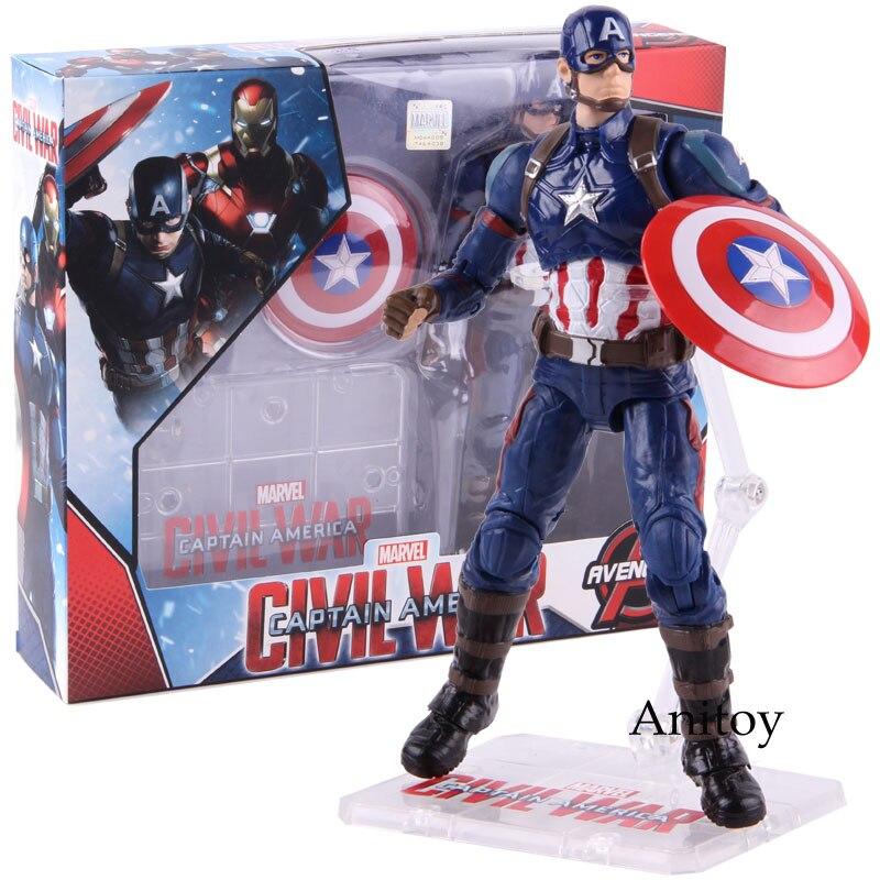 Marvel figuras de ação capitão américa 3 guerra civil brinquedos capitão américa pvc collectible modelo brinquedos para meninos