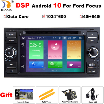 4G+64G Car Multimedia Player Android 10.0 Car DVD for Ford Mondeo Focus 2 S C Max Fiesta Galaxy Car Gps Navigation Autoradio SWC image