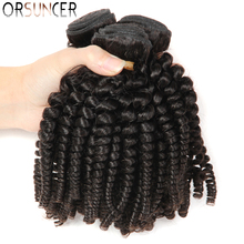 "ORSUNCER Brazilian Bouncy Curly Medium Ratio 8"" 18"" Non Remy Human Hair Weaves 1/3/4 Bundles Funmi Hair Extension Natural color"