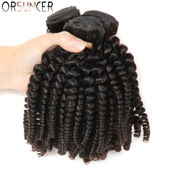ORSUNCER Brazilian Bouncy Curly Medium Ratio 8-18 Non-Remy Human Hair Weaves 1/3/4 Bundles Funmi Hair Extension Natural color top quality funmi hair for uk nigeria bouncy aunty romance curl human weaves 3bundles lot free shipping by dhl