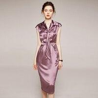 Office Lady 2020 Summer Dresses Elegant Fashion Bow V neck Sleeveless Slim Solid Acetate Satin Women Pencil Dress Pink Black