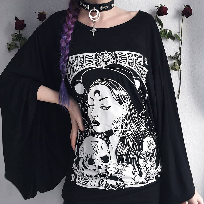 H41e4b34d12e24684b90307399040ee81j - Gothic women T-shirt Loose black rock Harajuku cool light print top Halloween party long shirts summer female pok clothes