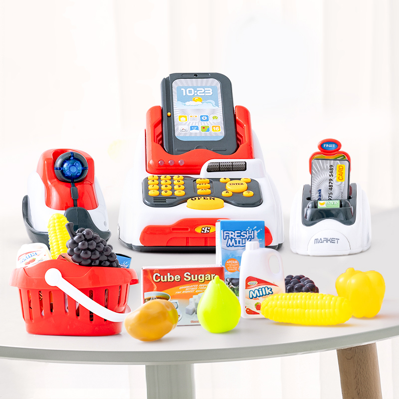 Infant Shining Kids Cash Register Children's Toy Simulation Supermarket Shopping Girl Boy Swipe Card Machine Sales Cash Register