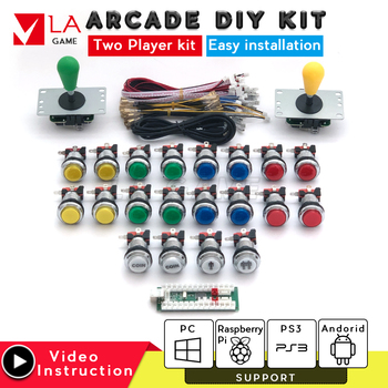 diy kit 2 player zero delay usb encoder to PC Rasberry PI sanwa joystick led arcade button arcade console for mame jamma project one player arcade game diy parts kit usb encoder pc joystick retro game diy kit for raspberry pi 3 retropie