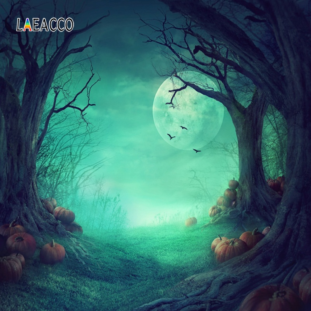 Laeacco Halloween Pumpkin Light Moon Trees Forest Baby Photography Background Customized Photographic Backdrops For Photo Studio in Background from Consumer Electronics