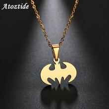Atoztide изящная нержавеющая сталь летучая мышь ожерелье для мальчика из нержавеющей стали супер герой Бэтмен ожерелье кулон ювелирные изделия подарок для детей